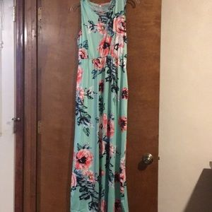 NWOT Mint Green and Floral Maxi Dress